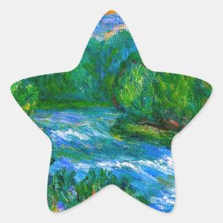 Nueva precipitación del río pegatina en forma de estrella