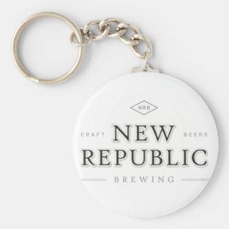 Nueva república Wordmark Llavero Redondo Tipo Pin