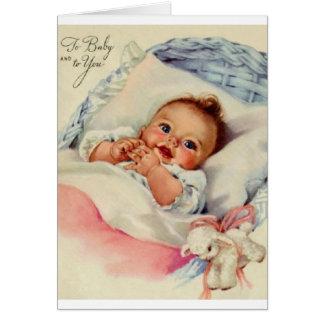 Nueva tarjeta de felicitación del bebé del vintage