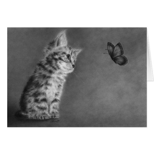 Nueva tarjeta de felicitación del gatito de las ma