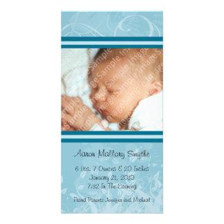 Nueva tarjeta de la foto del bebé del estilo azul tarjeta fotografica personalizada