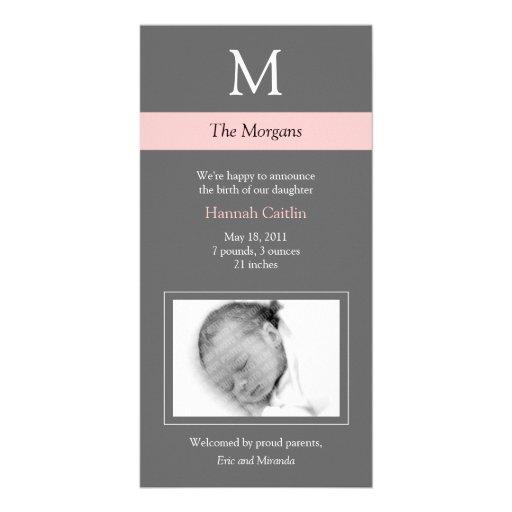 Nueva tarjeta de la foto del bebé del monograma el tarjetas personales