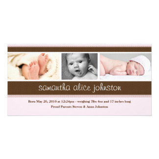 Nueva tarjeta de la invitación de la foto del bebé tarjeta personal