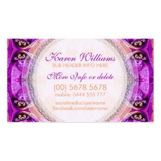 Nueva tarjeta de visita curativa fucsia púrpura de