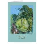 Nueva tarjeta del bebé de la col y del conejito