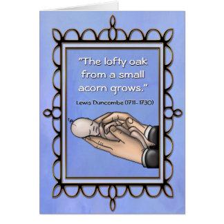 Nueva tarjeta del bebé del roble alto