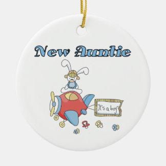 Nueva tía del aeroplano de las camisetas y de los adorno navideño redondo de cerámica