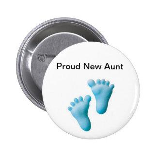 Nueva tía orgullosa pin redondo de 2 pulgadas