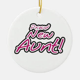 Nueva tía orgullosa Tshirts y regalos Adorno Navideño Redondo De Cerámica