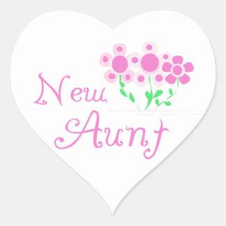 Nueva tía Pink Flowers T-shirts y regalos Pegatina En Forma De Corazón