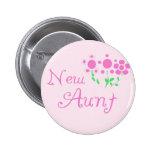 Nueva tía Pink Flowers Tshirts y regalos Pin