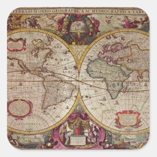 Nueva un mapa de la tierra y del agua de la tierra colcomanias cuadradass