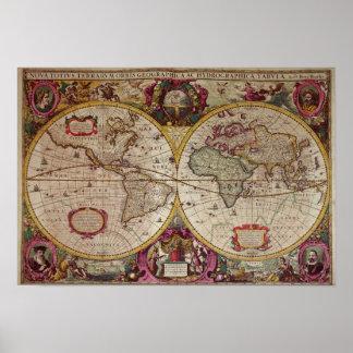 Nueva un mapa de la tierra y del agua de la tierra póster