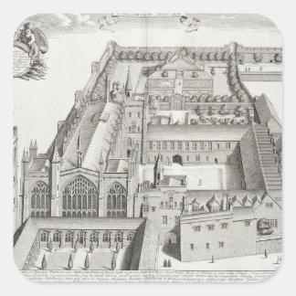 "Nueva universidad, Oxford, de ""Oxonia Illustrata"", Pegatina Cuadrada"