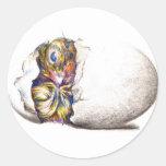 nueva vida del huevo pegatina redonda