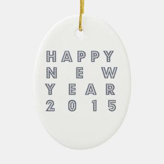 Nueva víspera feliz 2015 de los year´s adorno navideño ovalado de cerámica