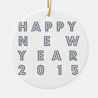 Nueva víspera feliz 2015 de los year´s adorno navideño redondo de cerámica