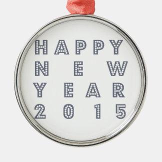 Nueva víspera feliz 2015 de los year´s adorno navideño redondo de metal