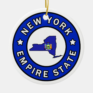 Nueva York Adorno Navideño Redondo De Cerámica