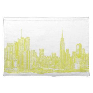 Nueva York amarillo claro Manteles Individuales