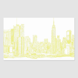 Nueva York amarillo claro Rectangular Pegatina