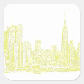 Nueva York amarillo claro Calcomanías Cuadradass Personalizadas