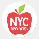 Nueva York Apple grande Etiquetas Redondas