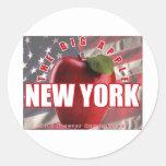 ¡Nueva York Apple rojo - 9/11 recordado para Pegatina Redonda