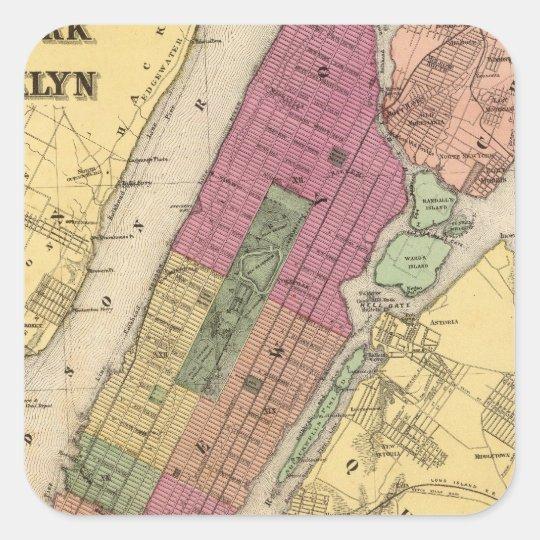 Nueva York, Brooklyn Pegatina Cuadrada