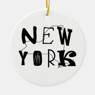 Nueva York con el esquema del estado de NY Adorno Redondo De Cerámica
