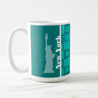 Nueva York; Cuadrados de la turquesa; Retro Tazas
