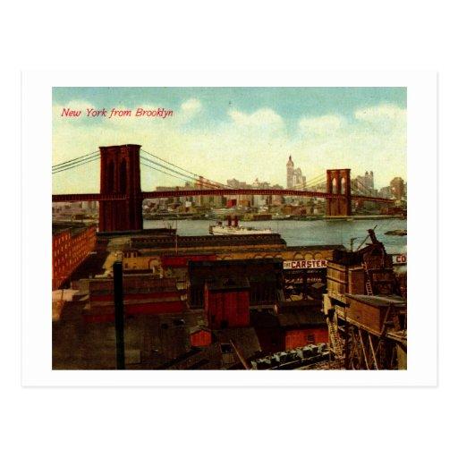 Nueva York de Brooklyn, vintage Postal