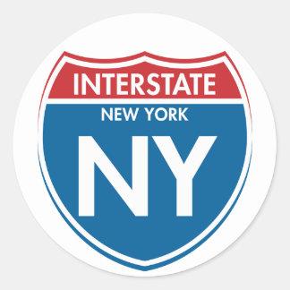 Nueva York de un estado a otro NY Pegatina Redonda
