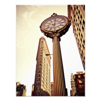 Nueva York - edificio y reloj de Flatiron Impresión Fotográfica