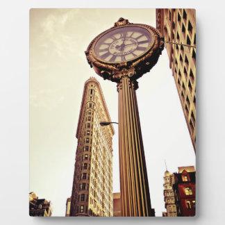 Nueva York - edificio y reloj de Flatiron Placas De Madera