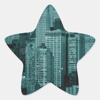 Nueva York - efecto dañado de la foto Pegatina Forma De Estrella Personalizadas
