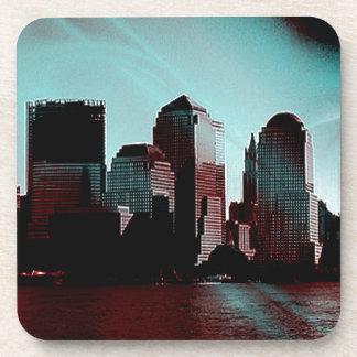 Nueva York efecto digital aguamarina Posavasos De Bebida