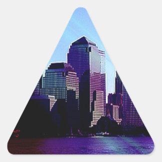 Nueva York, efecto púrpura Calcomanías Triangulos Personalizadas