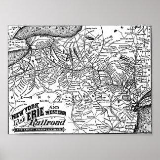 Nueva York el lago Erie y mapa occidental del Póster