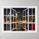 Nueva York en el poster de la ventana abierta del