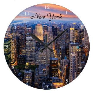 Nueva York en la noche Reloj Redondo Grande