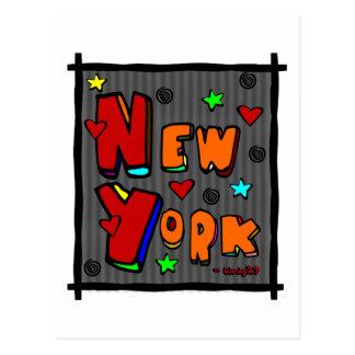 Nueva York enrrollada arte en el marco multicolo Postales