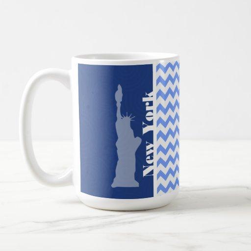 Nueva York, estatua de la libertad; Chevron azul Taza