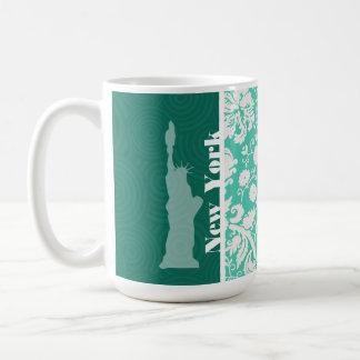 Nueva York, estatua de la libertad, damasco verde  Tazas
