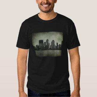 Nueva York, horizonte, B&W, vintage Playeras