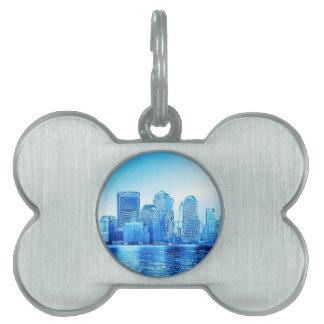 Nueva York, horizonte, iceblue Placa Mascota