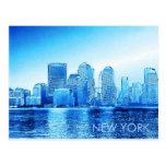 Nueva York, horizonte, iceblue Tarjetas Postales