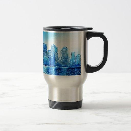 Nueva York, horizonte, iceblue Tazas