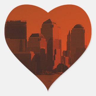 Nueva York, horizonte, rojo Pegatina De Corazón Personalizadas