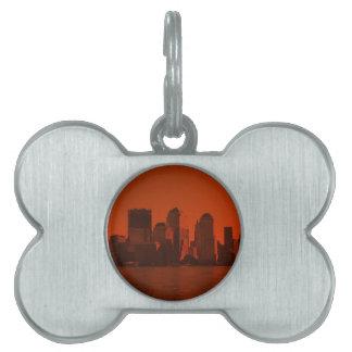 Nueva York, horizonte, rojo Placas De Nombre De Mascota